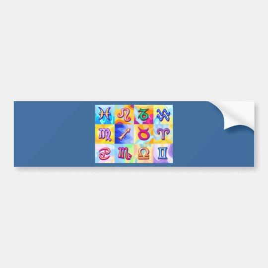 12 Zodiac signs Pop Art Bumper Sticker