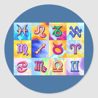 12 Zodiac signs Pop Art Round Stickers