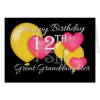 12ma bisnieta feliz del cumpleaños tarjeta de felicitación