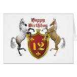 12ma tarjeta de cumpleaños con un escudo de armas