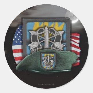 12mo Boinas verdes del sf de las fuerzas Pegatina Redonda