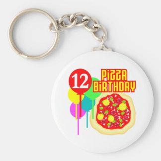 12mo Cumpleaños de la pizza del cumpleaños Llavero Redondo Tipo Pin