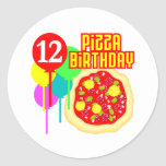 12mo Cumpleaños de la pizza del cumpleaños Etiqueta Redonda