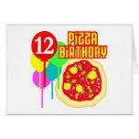12mo Cumpleaños de la pizza del cumpleaños Tarjeta
