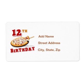 12mo Fiesta de la pizza del cumpleaños Etiquetas De Envío