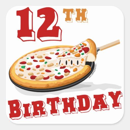12mo Fiesta de la pizza del cumpleaños Pegatina Cuadrada