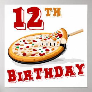 12mo Fiesta de la pizza del cumpleaños Póster