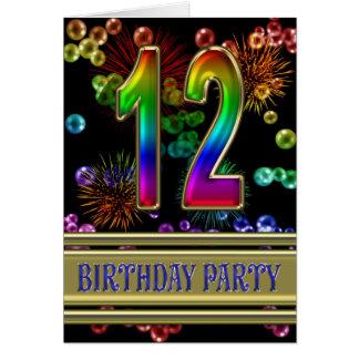 12mo Invitación de la fiesta de cumpleaños Felicitación