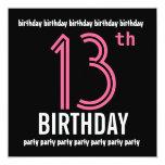 12mo Negro del rosa de la plantilla de la Invitación 13,3 Cm X 13,3cm