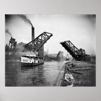 12mo Puente de báscula de la calle Chicago Illinoi Posters