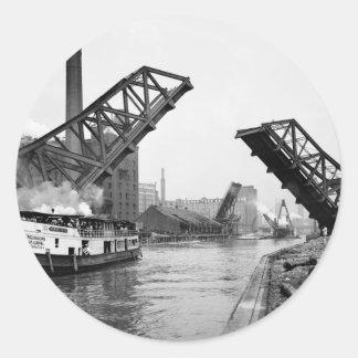 12mo Puente de báscula de la calle Chicago Illinoi Etiqueta Redonda