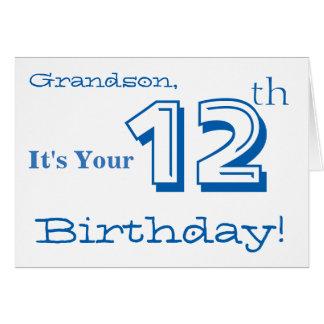12mo saludo del cumpleaños del nieto en azul y