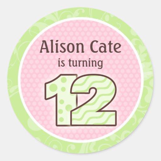 12mo sello personalizado del cumpleaños etiqueta redonda