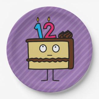 12mo Torta de cumpleaños con las velas Platos De Papel