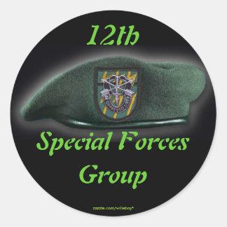 12mo Veteranos de las boinas verdes del sf de las Pegatina Redonda