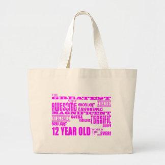 12mos cumpleaños de los chicas: 12 años más grande bolsa lienzo