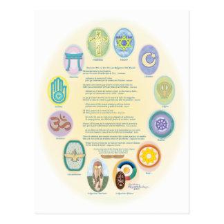12Oraciones Por La Paz De Las Religiones Del Mundo Postcard
