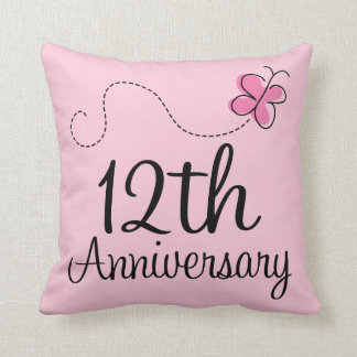 12th Anniversary Celebration Gift Erfly Throw Pillow