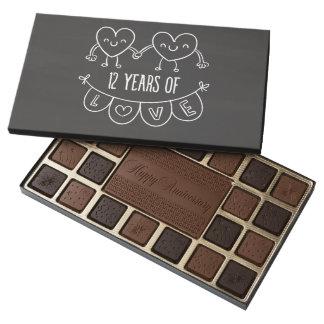 12th Anniversary Gift Chalk Hearts 45 Piece Box Of Chocolates