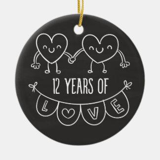 12th Anniversary Gift Chalk Hearts Ceramic Ornament
