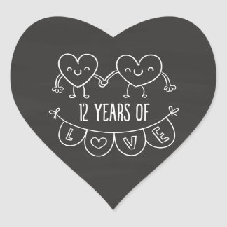12th Anniversary Gift Chalk Hearts Heart Sticker