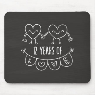 12th Anniversary Gift Chalk Hearts Mouse Pad