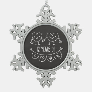 12th Anniversary Gift Chalk Hearts Snowflake Pewter Christmas Ornament