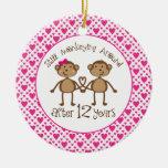 12th Anniversary Monkey Love Ornament
