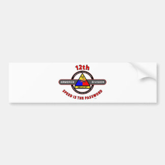 "12TH ARMORED DIVISION""SPEED IS THE PASSWORD"" BUMPER STICKER"