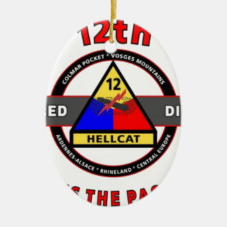 """12TH ARMORED DIVISION""""SPEED IS THE PASSWORD"""" CERAMIC ORNAMENT"""