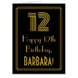 "[ Thumbnail: 12th Birthday: Art Deco Inspired Look ""12"" + Name Card ]"