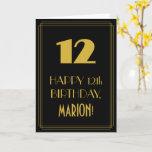 "[ Thumbnail: 12th Birthday – Art Deco Inspired Look ""12"" & Name Card ]"