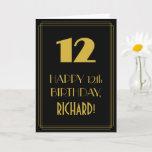 "[ Thumbnail: 12th Birthday ~ Art Deco Inspired Look ""12"" & Name Card ]"