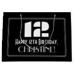 "[ Thumbnail: 12th Birthday ~ Art Deco Inspired Look ""12"" + Name Gift Bag ]"