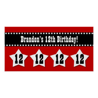 12th Birthday Banner with Stars Custom Name V12S Print