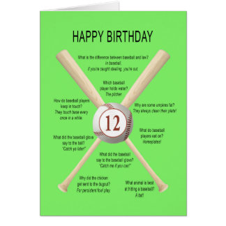 12th birthday baseball jokes card