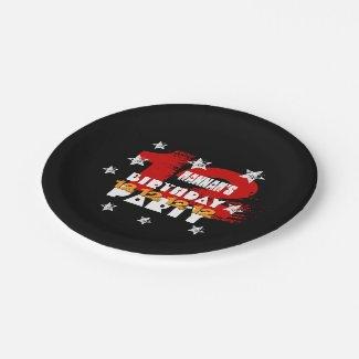 12th Birthday Black Red White Stars K01Z 7 Inch Paper Plate
