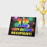 [ Thumbnail: 12th Birthday: Bold, Fun, Fireworks, Rainbow 12 Card ]