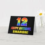 [ Thumbnail: 12th Birthday: Bold, Fun, Simple, Rainbow 12 Card ]
