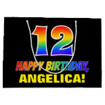 [ Thumbnail: 12th Birthday: Bold, Fun, Simple, Rainbow 12 Gift Bag ]