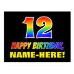 [ Thumbnail: 12th Birthday: Bold, Fun, Simple, Rainbow 12 Postcard ]