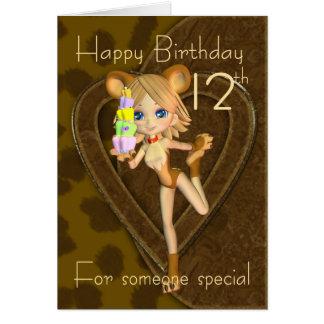 12th Birthday card, Cutie Pie Animal Collection Card