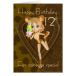 12th Birthday card, Cutie Pie Animal Collection Greeting Card