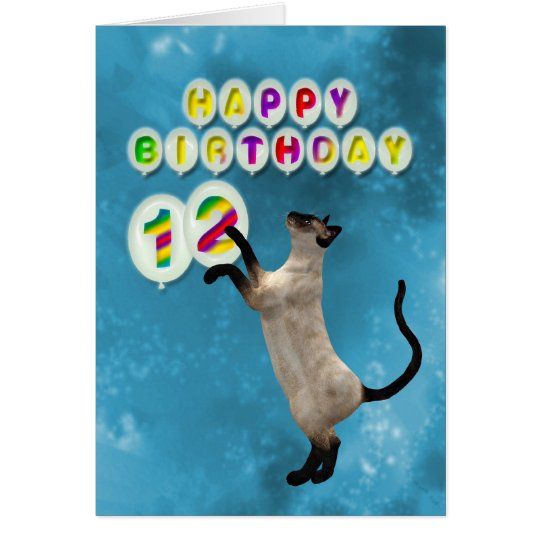 12th Birthday card with siamese cats