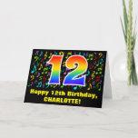 [ Thumbnail: 12th Birthday: Colorful Music Symbols & Rainbow 12 Card ]