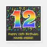 [ Thumbnail: 12th Birthday - Colorful Music Symbols, Rainbow 12 Napkins ]