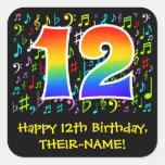 [ Thumbnail: 12th Birthday: Colorful Music Symbols, Rainbow 12 Sticker ]