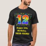 [ Thumbnail: 12th Birthday: Colorful Music Symbols, Rainbow 12 T-Shirt ]