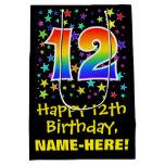 [ Thumbnail: 12th Birthday: Colorful Stars Pattern & Rainbow 12 Gift Bag ]