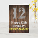 [ Thumbnail: 12th Birthday: Country Western Inspired Look, Name Card ]
